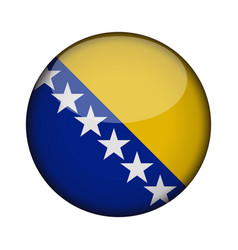 bosnia and herzegovina flag in glossy round vector image