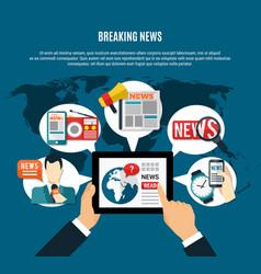 Breaking news background vector