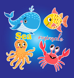 bright set with sea animals vector image
