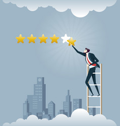 businessman giving five star rating - business vector image