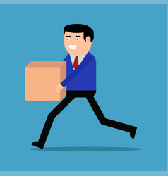 Businessman running with box vector