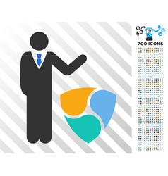 Businessman show nem flat icon with bonus vector