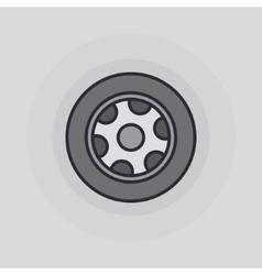 Car wheel flat icon vector