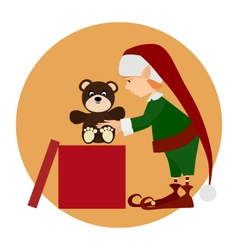 Christamas cute elf with gift vector