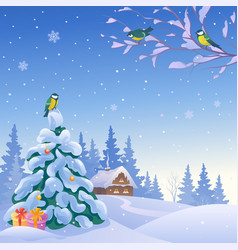 Christmas square landscape with birds vector