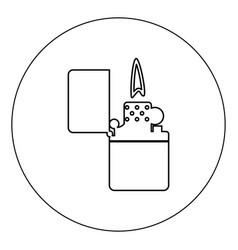 cigarette lighter icon black color in circle vector image
