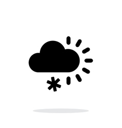 Cloudy with snow weather icon on white background vector image