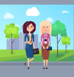 colorful picture with two cute business women vector image