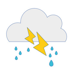 Cute cloud with raining and thunder weather vector