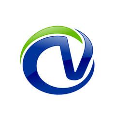 cv letter initials blue cricle green swoosh symbol vector image
