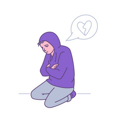 Depressed man or teen with broken heart sketch vector