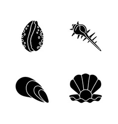 Different sea shells black glyph icons set on vector