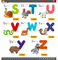 Educational cartoon alphabet set for learning vector