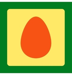 Egg flat orange and yellow colors rounded button vector