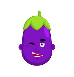 eggplant winks emotion avatar purple vegetable vector image