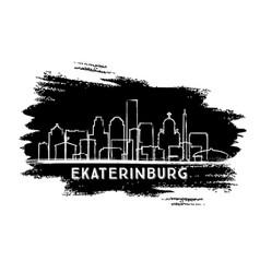 ekaterinburg russia city skyline silhouette hand vector image