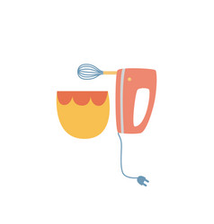 electric hand mixer and ceramic bowl in flat vector image