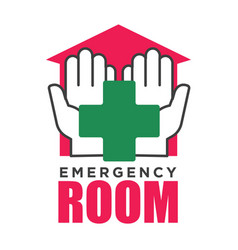 Emergency room corss and hands hospital vector
