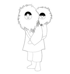 Eskimo mother with son behind her back wearing vector