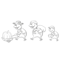 Farmers with the harvest of pumpkins outline vector