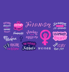 Feminism quote and icon set hand lettering vector