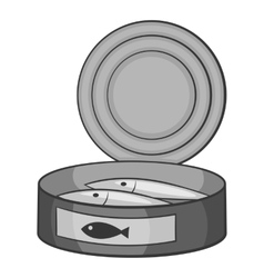 Fish in canned icon gray monochrome style vector