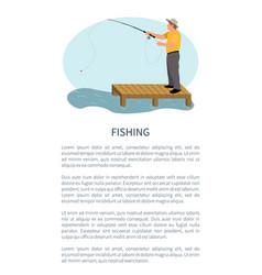 Fisher with spinning standing on pier isolated vector