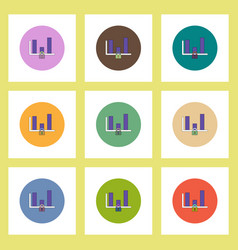 flat icons set of column chart and lock concept on vector image