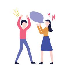 flat man woman negotiate speech bubble vector image