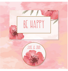Floral be happy border watercolor vector