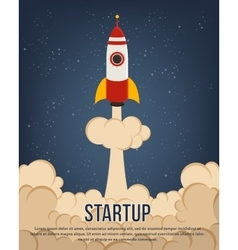 Flying rocket with cloud trail for startup design vector