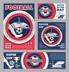 football match poster for soccer sport game design vector image