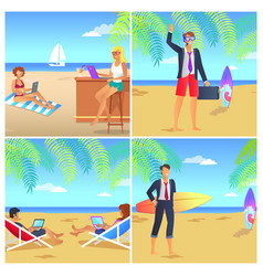 four colorful posters with businessmans on beach vector image