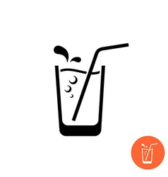 Glass of water or juice black icon Glass with vector image