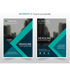 green annual report brochure flyer design vector image