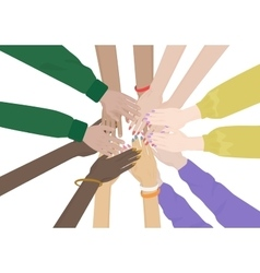group of diverse hands together isolated team vector image