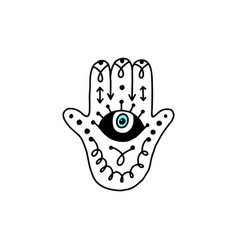 Hamsa hand with eye and mystic runes - doodle vector