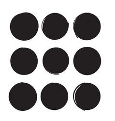 hand drawn circle line sketch set circular vector image