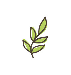 Hand drawn green leaf doodle icon isolated vector
