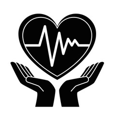 Hands with heart cardio isolated icon vector