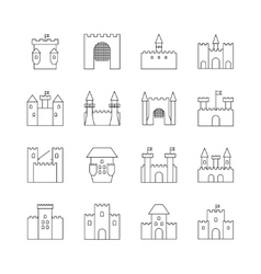 Historical ancient castle linear icons Citadel vector image