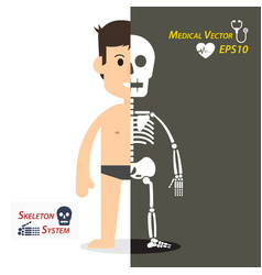Human and skeleton flat design vector