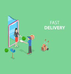 isometric flat concept of fast delivery vector image