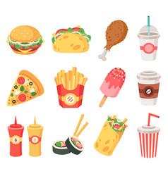 junk street food fast food doodle takeaway food vector image