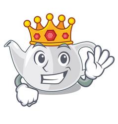King teapot porcelain in a shape cartoon vector