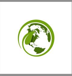 leaf around world logo template vector image
