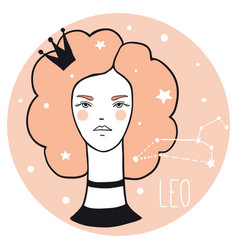 leo girl sketch style woman with zodiac sign vector image
