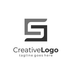 letter s and g black grey square logo flat vector image