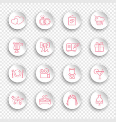 line icons marriage on round white stickers vector image