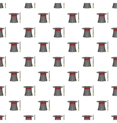 Magician hat and wand pattern cartoon style vector image